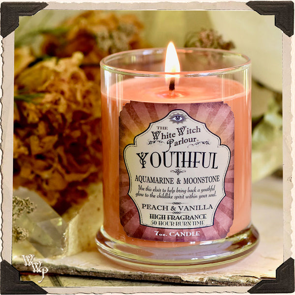 YOUTHFUL Elixir Apothecary CANDLE 7oz. For Playfulness, Softening the Ego & Glowing Energy.
