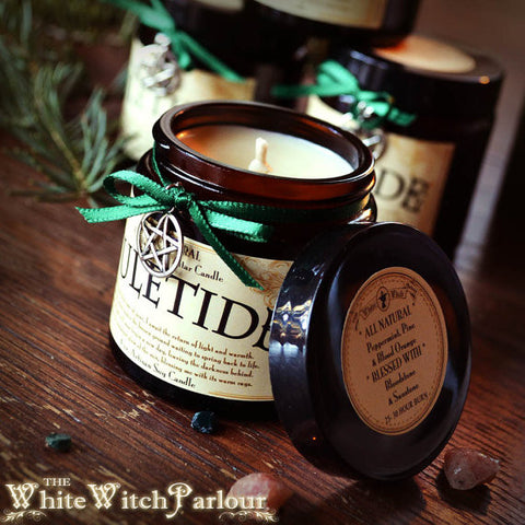 YULETIDE CANDLE Altar All Natural. Pine, Peppermint, Blood Orange, Wintergreen, Blessed with Sunstone & Bloodstone Crystals.