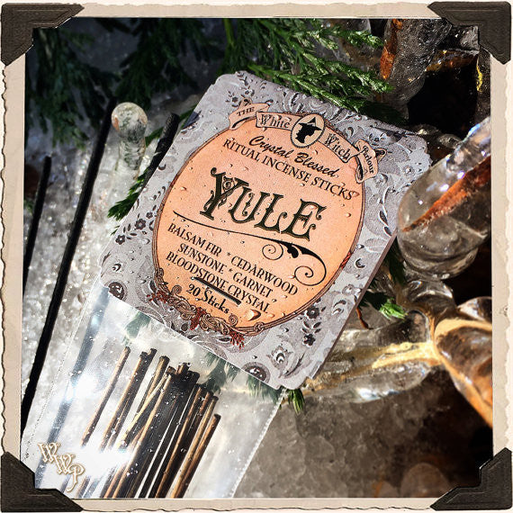 YULE INCENSE. 20 Stick Pack. Winter Solstice. Scent of Balsam Fir Pine & Cedarwood. Blessed by Sunstone, Garnet & Bloodstone.