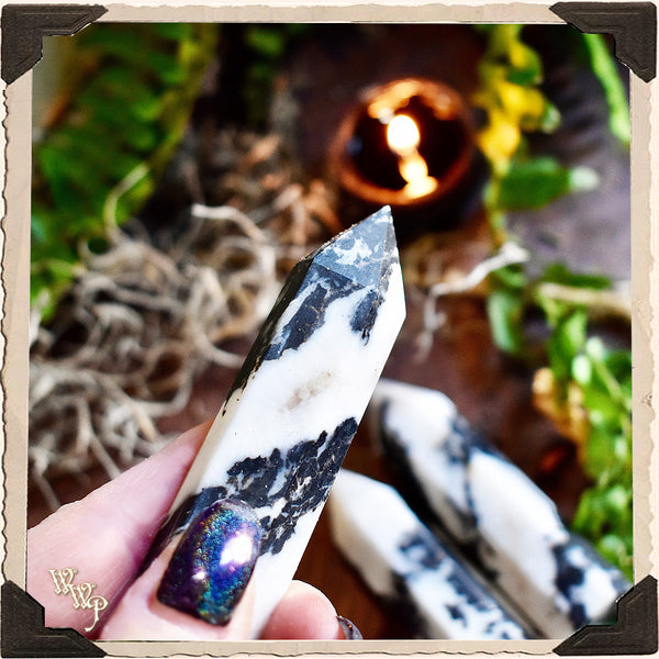 ZEBRA STONE CRYSTAL OBELISK. For Life Contentment, Balance & Problem Solving.