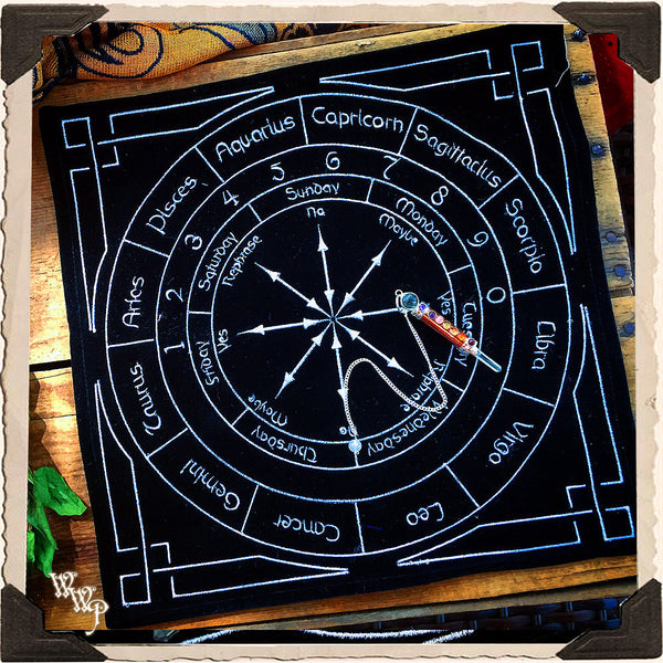 ZODIAC / ASTROLOGY PENDULUM MAT. Black Velvet With Numbers & Days. For Astrological Divination & Spiritual Insight.