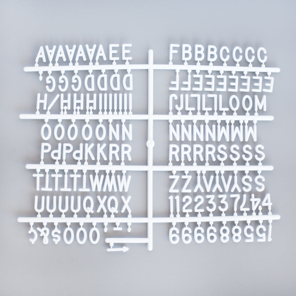 "3/4"" HELVETICA LETTER SET - 340 CHARACTERS - RIVI co. letter boards"