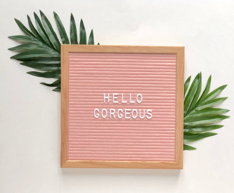 10 x 10 OAK FRAME, PINK FELT LETTERBOARD and WHITE LETTER SET - RIVI co. letter boards