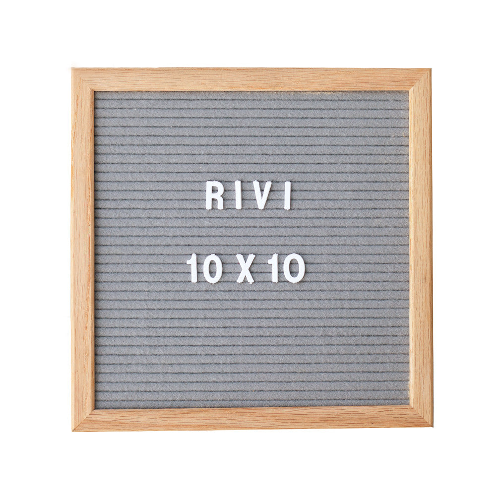 10 x 10 GREY FELT, OAK FRAME LETTERBOARD – RIVI co. letter boards