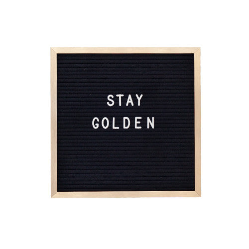10 x 10 GOLD METAL FRAME, BLACK FELT LETTERBOARD - RIVI co. letter boards