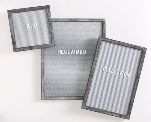 10 x 10 RECLAIMED WOOD FRAME, GREY FELT LETTERBOARD - RIVI co. letter boards