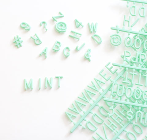 "MINT GREEN 3/4"" HELVETICA LETTER SET - 290 CHARACTERS"