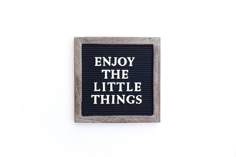 10 x 10 RECLAIMED WOOD FRAME, BLACK FELT LETTERBOARD