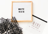 10 x 10 OAK FRAME, WHITE FELT LETTERBOARD and BLACK LETTER SET - RIVI co. letter boards