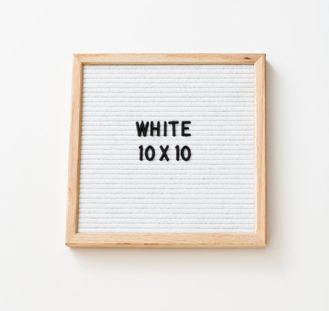 10 x 10 OAK FRAME, WHITE FELT LETTERBOARD and BLACK LETTER SET
