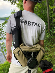 The gearpac sling bag hands free dog walking system holds your dog leash and all your gear for the day