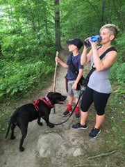 hands free dog walking and water bottle storage
