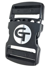 "Load image into Gallery viewer, gearbuckle is a 2"" ykk double adjust side release buckle with a 500lb. load rating"