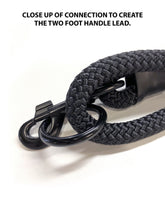"Load image into Gallery viewer, gearleash II the worlds strongest rope leash made from 5/8"" dacron anti stretch rope with a large o-ring in the handle to fold the dog leash in half and create a short two foot handle lead"