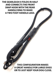 "gearleash II the worlds strongest rope leash made from 5/8"" dacron anti stretch rope which can be folded in half to make a two foot dog leash"
