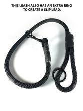"Load image into Gallery viewer, gearleash II the worlds strongest rope leash made from 5/8"" dacron anti stretch rope and has an o-ring in the main leash to turn it into a slip lead"