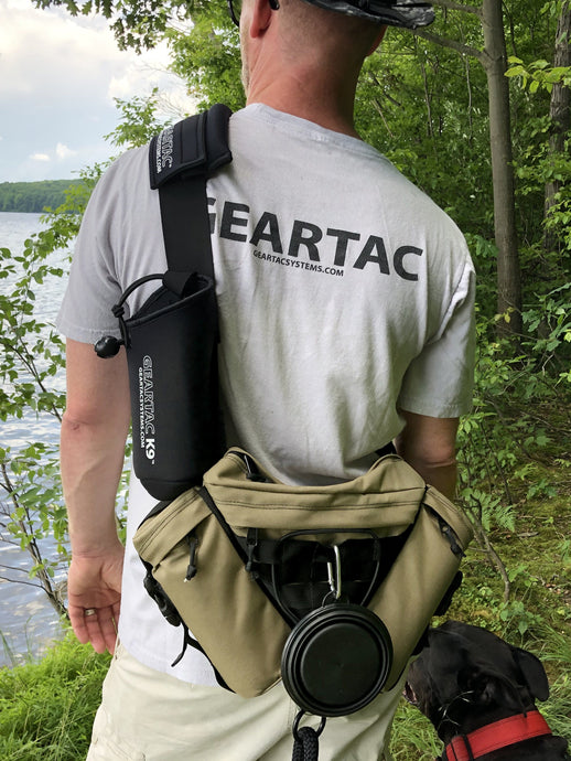 gearpac hands free dog walking sling pack for walking, hiking, camping to keep your dog leash secure