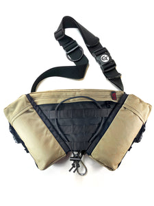 the gearpac can be bought with our basic tagh1 shoulder strap and combined with your favorite dog leash