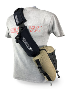 gearpac hands free dog walking sling bag with all the gear you need to walk your dog and cary all your walking and hiking needs