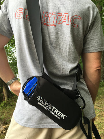 geartrek hands free dog walking device water bottle holder and sports system for hiking, camping and any situation a water bottle is needed