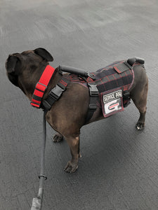 the geartac service dog full size vest is awesome for your identification and ability to hold and help the rear section of your dog