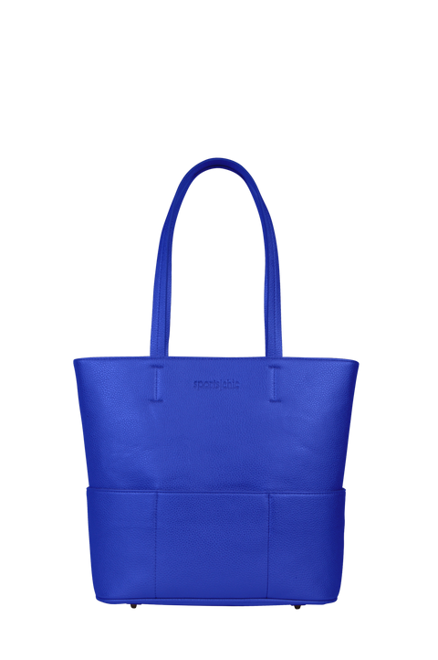 SportsChic Vegan Classic Blue Midi Tote with Pebble Grain Waterproof and UV Protected Exterior and hot pink waterproof interior + 4 external insulated pockets to keep drinks hot or cold