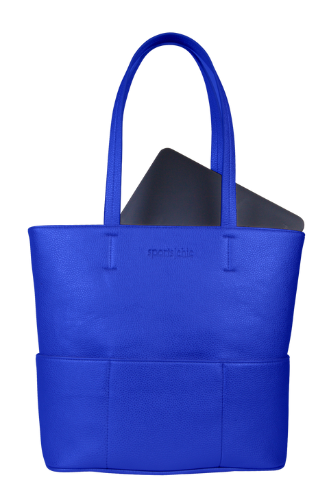 SportsChic Vegan Classic Blue Midi Tote Front with Laptop