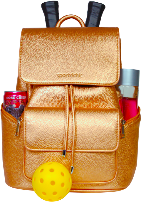 SportsChic Vegan Midi Bronze Backpack carrying two pickleball racquets, two drinks in insulated pockets and ball