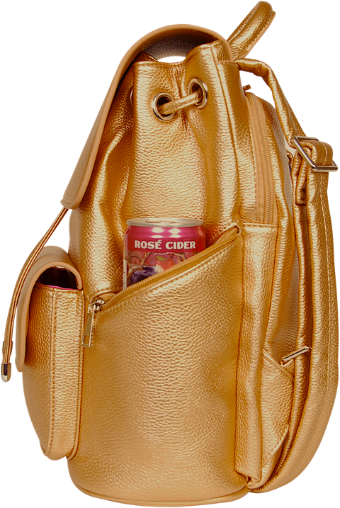 SportsChic Vegan Midi Bronze Backpack side view with waterproof UV protected exterior and insulated pocket keeping can of cider chilled