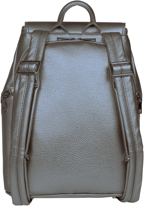 SportsChic Vegan Midi Pewter Backpack with secure iPad compartment and padded, adjustable straps