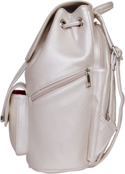 SportsChic Vegan Midi Titanium White Backpack side view with waterproof UV protected exterior and three insulated pockets