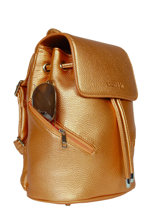 SportsChic Vegan Mini Bronze Backpack 3/4 view with waterproof UV protected exterior and mini insulated side pocket holding sunglasses