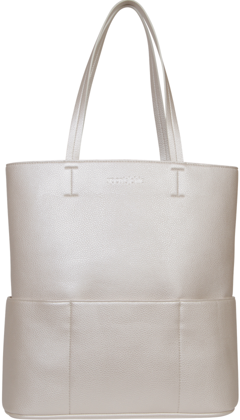 SportsChic Vegan Titanium White Metallic Tote with waterproof UV protected pebble grain exterior and 4 insulated pockets