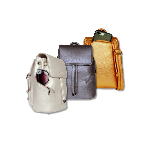 SportsChic Vegan Mini Titanium White, Pewter and Bronze Backpack with waterproof UV protected exterior and insulated pockets carrying cell phone and sunglasses