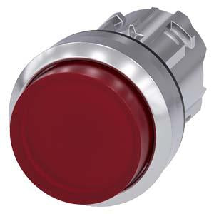 ILLUMINATED PUSHBUTTON, MOM, RED, RAISED