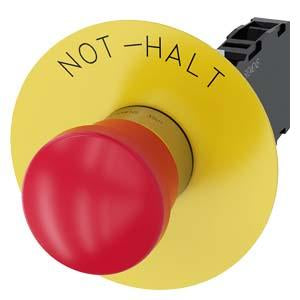 EM. STOP MUSHROOM PUSHBUTTON. 40MM. RED