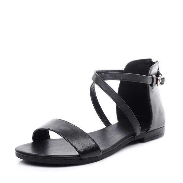 Genuine Leather Buckle Strap Sandals
