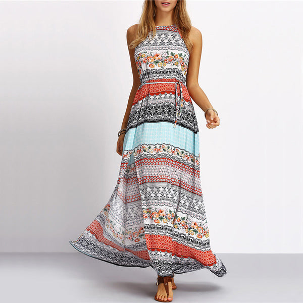 Printed halter-top maxi