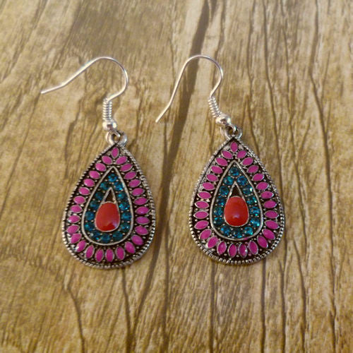 Colorful Water Drop Long Earrings