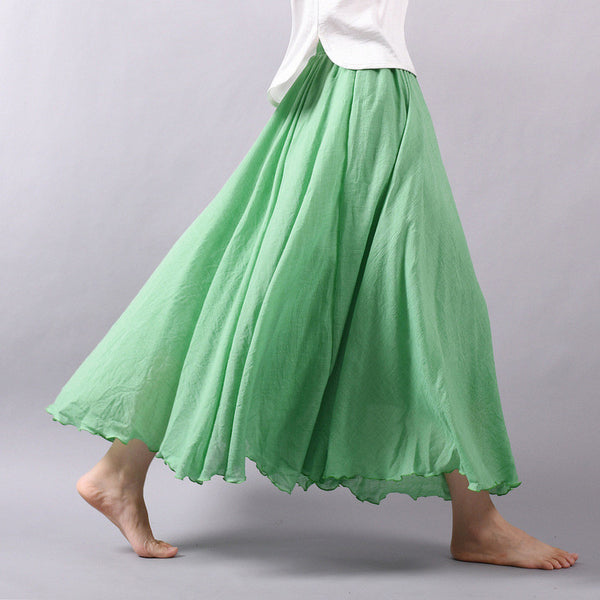 Pleated Maxi Cotton Linen Skirt