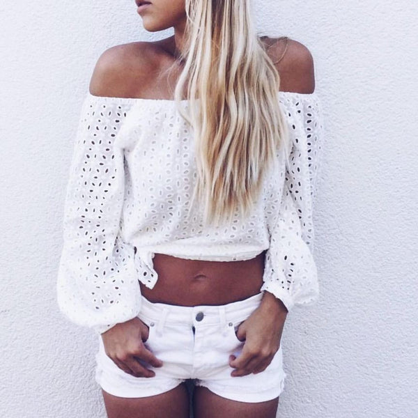 White Off Shoulders Hollow Blouse Top