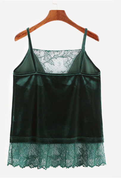 Dark Green Velvet Lace Top