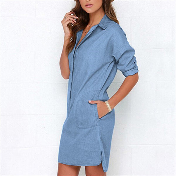 Solid Straight Loose Denim Long Sleeve Dress