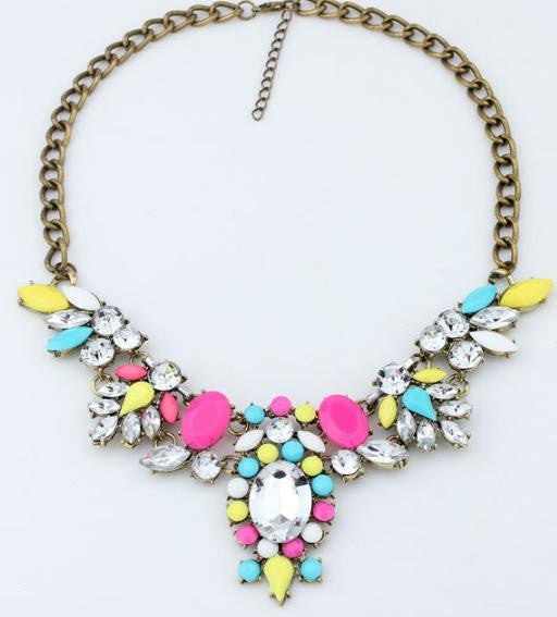 6 color Crystal Rhinestone Flower Necklace