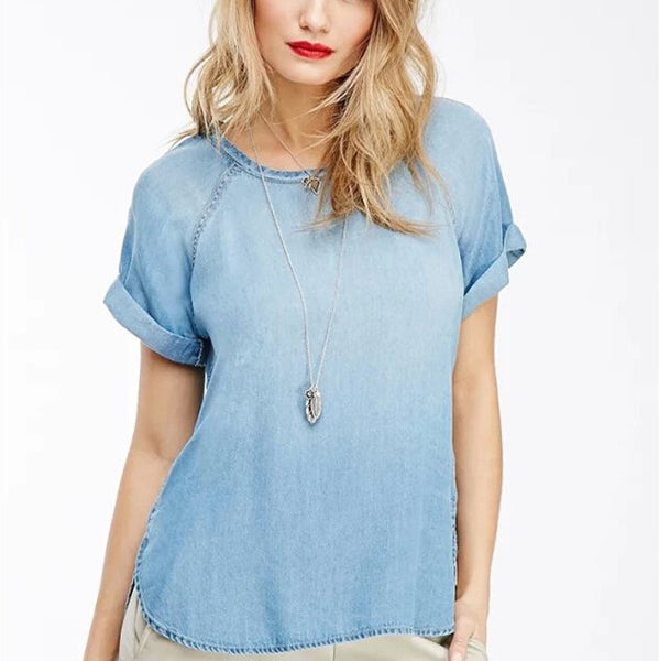 Casual Denim O-Neck T-shirt