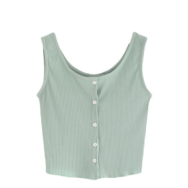 Front Buttoned Knit Tank Top
