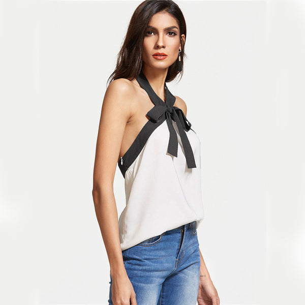 Front Tie Two Colors Cami Top