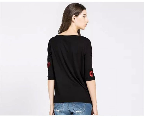 Embroided lips Casual T-shirt