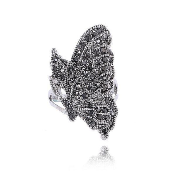 Black Crystal Butterfly Ring