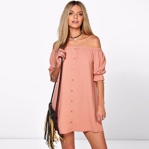 Half Sleeve Off Shoulder Dress